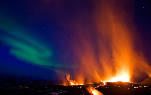 Epic Photo Arnþór Ævarsson managed to capture both the Northern Lights and spewing lava in this incredible photo.  Talk about being at the right place at the right time.  As a prelude to the current massive volcanic eruption in Eyjafjallajökull causing extensive air traffic disruption in Europe, a moderate eruption took place just days before on the east side of the volcano. The location provided an opportunity for up-close encounters with picturesque craters and lava flows, in contrast to the inaccessibility of the following eruption site at the top of the volcano. With a team of Jeep enthusiasts and other photography nerds, I was able to travel to the remote site of the eruption. …  Read the rest of the story on Flickr.
