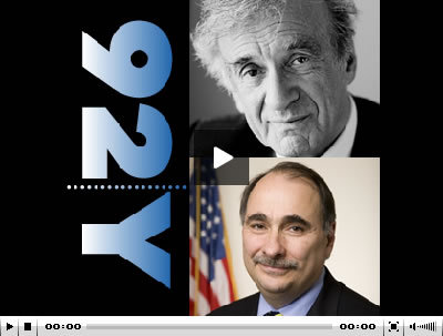 92y:  Starting at 8pm EST tonight, watch the live webcast of Elie Wiesel and David Axelrod, Senior Advisor to President Obama, as they bring to the stage the key findings from the Conference of Nobel Laureates, focusing on how to manage the changing nature of leadership in the 21st Century.