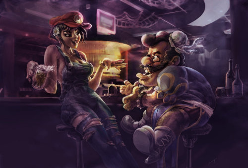 Mario and Chunli by ~benryyou