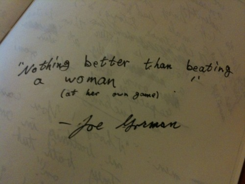 I took a peek at Joe Gorman's notebook. (Who quotes themselves?)