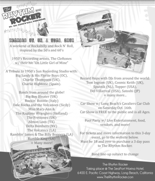 Line up and Events for The Rhythm Rocker!