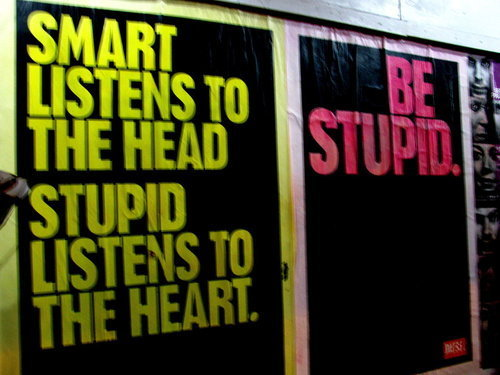 Smart listens to the head. Stupid listens to the heart. Be Stupid.