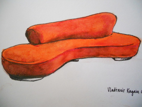 oil pastels- sofa by vladimir kagan couture