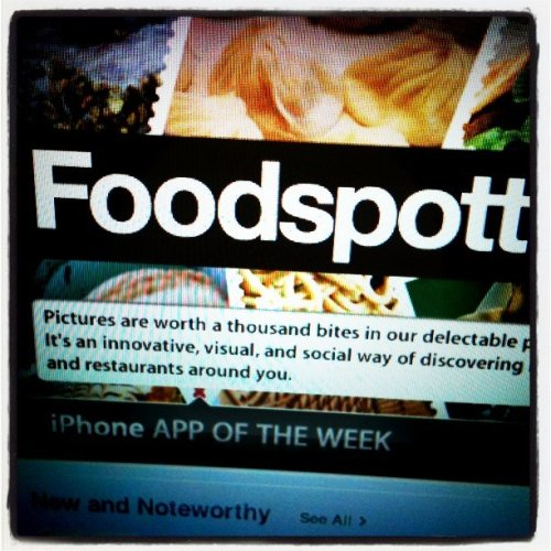 foodspotting:  How can today get any more perfect…? We're triple featured on Apple's iPhone App Store, and the whole team is beaming with excitement and pride. Not only are we called out as an App of the Week, we're also listed in the Off the Grid and Apps for Foodies featured apps lists. All we can say is wow. We're in awe! Very happily,Fiona  Congratulations to the foodspotting team!  I love their app and would totally use it more if I could only remember to take a photo of my food before I wolf it down. Seriously, I'm part Labrador, I just dive in, face first.  It's something I'm working on.——————————-via Readlr for iPhone