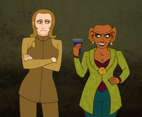 paramadoodles:  girl!Odo and girl!Quark exist. All arguments are forever invalid. Lately all I've been drawing is genderbent Deep Space 9. So um. There's more to come.  This is amazing. I love the smile on girl!Quark's face. It's the exact same as boy!Quark's.