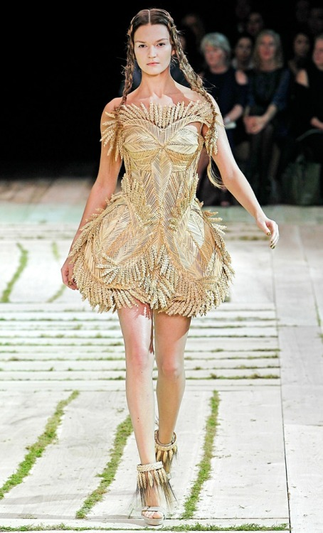 Alexander McQueen Spring 2011.  This dress is so lovely, so impractical, so McQueen. (Image via Fashionising)