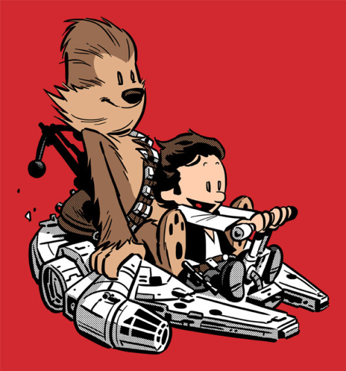 Calvin & Hobbes: Han and Chewie. gordonshumway:  TeeFury: Tell us a little about this design. Chris Wahl: Like most nerds my age, I was raised watching Star Wars and reading Calvin and Hobbes and the two sets of characters combined seemed to work perfectly together. Which begs the question, was Chewbacca just Han's stuffed toy/ imaginary friend? — Buy it on TeeFury  — More from Chris Wahl