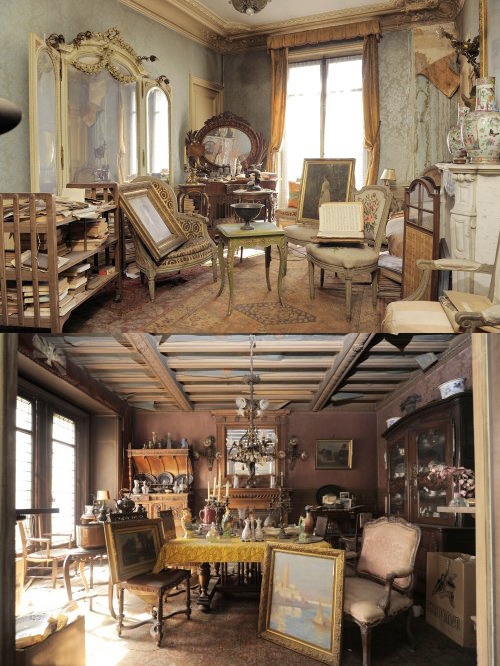 10317770538:  ckck:  Photos of a Parisian apartment that was left untouched for 70 years after its owner moved to the south of France before World War II. The big news story is about the Boldini painting that was found in it, but I think the apartment itself is the truly fascinating aspect of the whole story. What I wouldn't do to have a day or two with my camera in there with everything untouched.  …can I live there please?