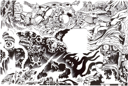 "Jack Kirby's illustration for the Robert E. Howard poem ""Musings"" from ""Ariel: The Book of Fantasy"" (Peacock Press/1978)"