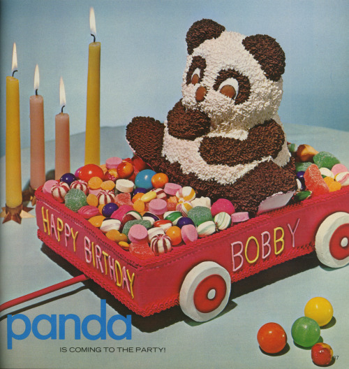 Panda cake! Scanned from the Wilton Yearbook of Cake Decorating, Chicago, IL, 1974.