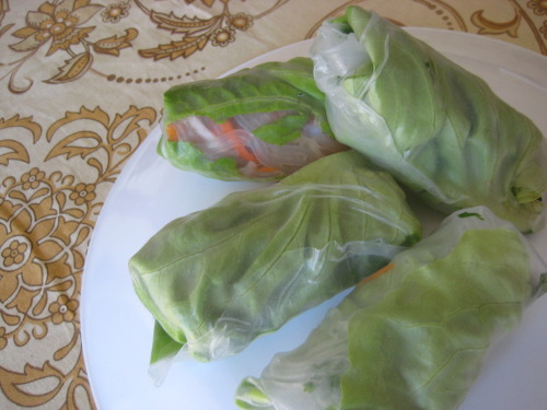 Summer Rolls: carrots, daikon radish, sweet potato vermicelli, bibb lettuce and fresh cilantro and thai basil