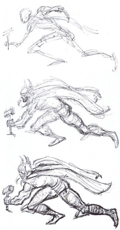 The process of a Thor sketch from John Buscema (The Comics Journal/Aug.2000)
