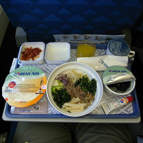 genkijames:  ohmyasian:  926. Korean Air Airplane Food. Now you can't say airplane food is terrible.  The bibimbap on the way to Seoul was actually some of the best I've ever had. And the old lady sitting next to me who adopted me as her grandson while we were speaking in Japanese mixed up my bibimbap and gave me her cake! She was so fun!  ^_^ memories so close, but yet so far away…