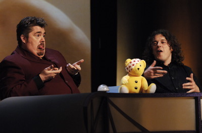 Phill Jupitus, Alan Davies, and Pudsey