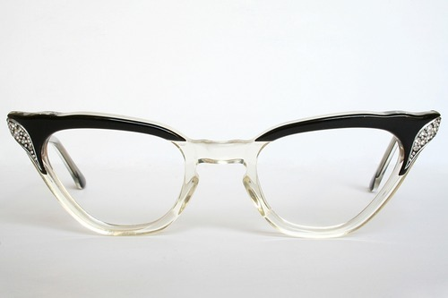 vintageeyewear:  Black Silver and Rhinestones Vintage Cat Eye Glasses Frames Mint Condition