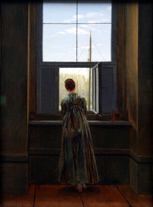 erinaa:  C. D. Friedrich - Woman at a window 1822