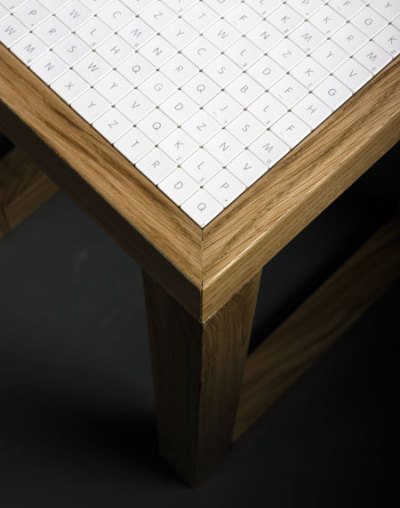 Project 380 - tables tiled with 380 Apple keyboard keys via PUBLIC SCHOOL