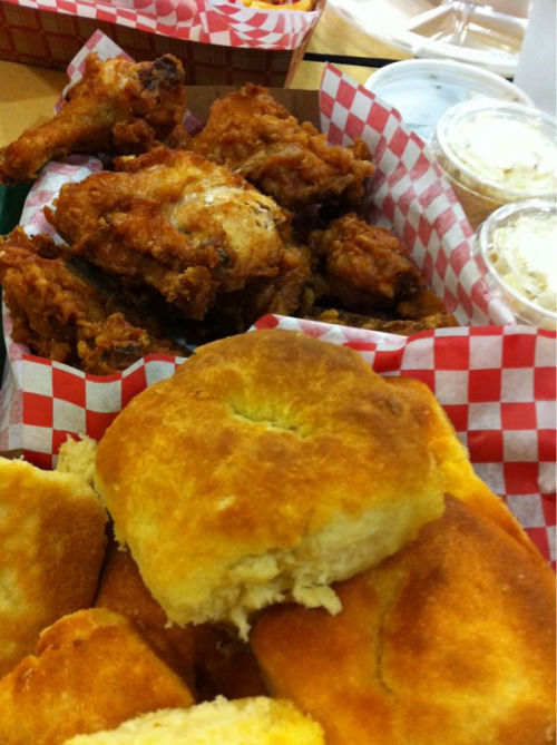 Smorgasbord of awesome: fried chicken and biscuits.  Honey's Kettle Fried Chicken in Culver City, CA.