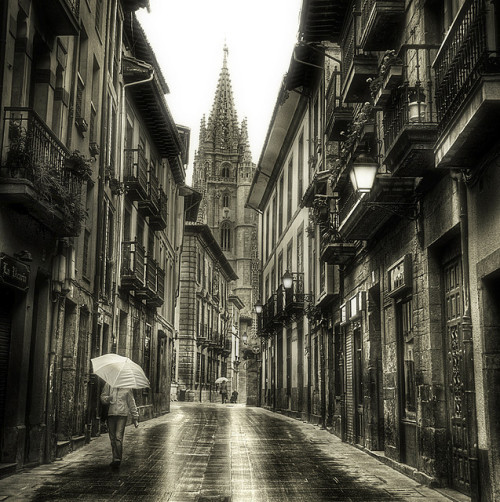 allthingseurope:  Oviedo, Asturias, Spain via  I'm loving this tumblr, such an enormous collection of awesome european places <3And reblogging a photo of my city, taken in the old town. Oddly enough, this street is the center of the night life of Oviedo x_D