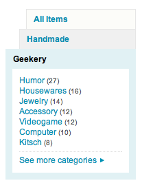 Etsy.com has an interesting way of displaying search refinements.