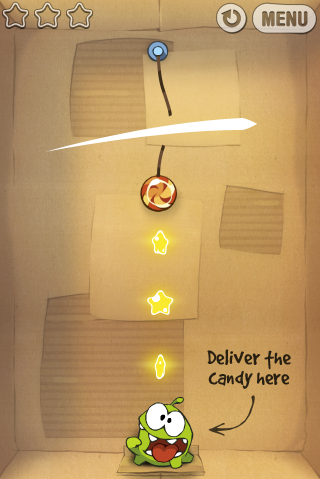 Cut the Rope: Great art in this puzzle game. Reminds me of Angry Birds, but better looking.