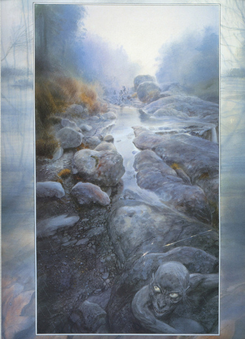 fuckyeahlordoftherings:  Gollum flees the Elves of Mirkwood, by John Howe