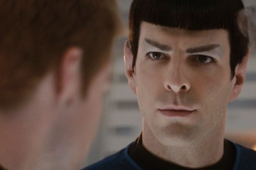 "verifascinating:  Jim: ""Blah blah blah. Blah blah blah blah."" Spock: The cadet is gorgeous.  Jim: ""Blah blah. Blah blah blah."" Spock: Mmmm. Pike: ""Spock?"" Spock: Uhhhh, ""The cadet's logic is sound.""  This is exactly how it happened."