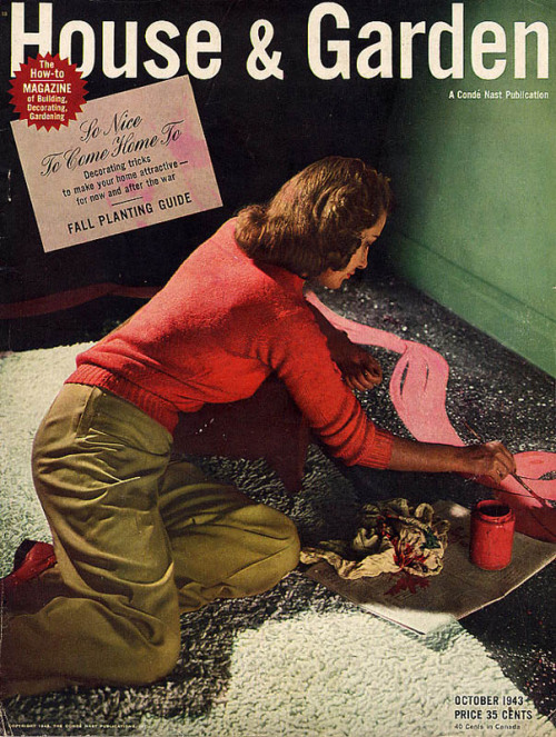 House and Garden, Oct.  1943: despondent war bride ruins rug with pink paint