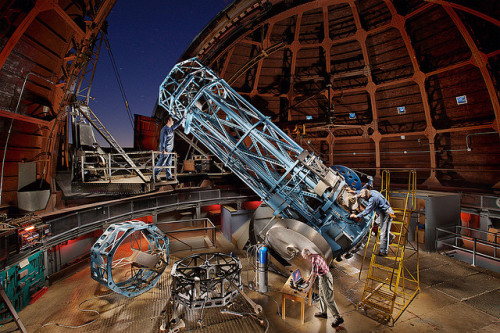 "scipsy:  60"" Mount Wilson TElescope: Vision (by Eric Curry) This is an image of the 60"" telescope located atop Mount Wilson observatory here in southern CA. The scope and structure were built and completed around 1908. Most of the material and structures etc. were hauled up the 9.5 mile trail to the summit via mule carts. In those days, there was not a serviceable road wide enough to handle trucks of the day. The telescope and mounting base alone is 21.5 tons of moving parts, all brought up and erected by hand."
