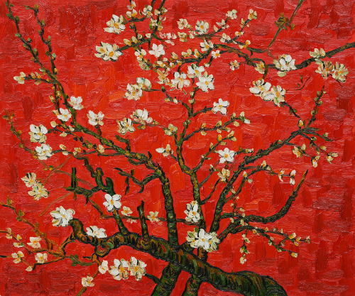 graveyardgirlfriend:  Vincent Van Gogh. Branches Of An Almond Tree In Blossom (Artist Interpretation in Red). 1890