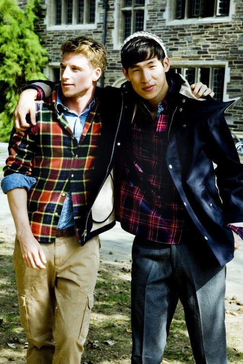 I can feel it in the autumn air! Left: Plaid shirt by Gant Rugger, chambray shirt by Polo Ralph Lauren and cargo pants by Brunello Cucinelli. Right: Jacket by Steven Alan, popover shirt by Gant Rugger, plaid shirt by Gant Rugger, trousers by New England Shirt Company, hat by J. Press. prepidemic:  Fall style guide is here! http://tinyurl.com/24v53n5