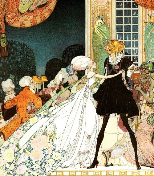 "Kay Nielsen ~ The Twelve Dancing Princesses from In Powder and Crinoline ~ Hodder & Stoughton ~ 1913 ""Don't drink!"" cried out the little Princess, springing to her feet; ""I would rather marry a gardener!"""