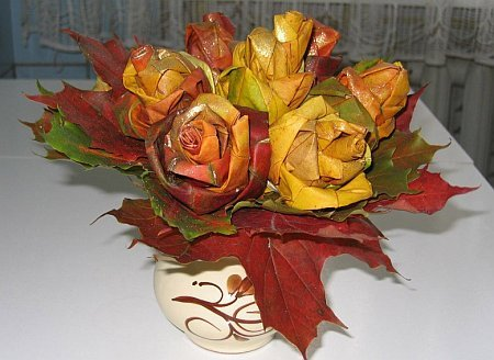 How to make roses from maple leaves!  Perfect Autumn craft!  Click link to see how =]