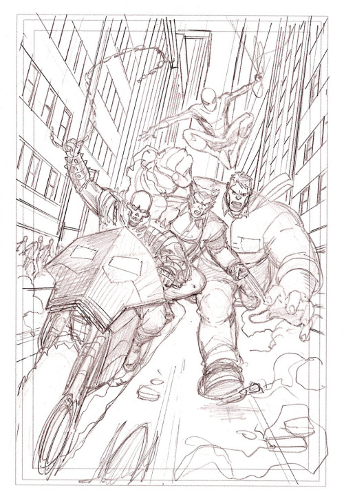 "Mike Wieringo's layout sketch for his cover of Marvel's ""What If…"" (final version to compare below). Scanned by me from the original art and subsequently passed to Jeff Parker (the writer of the book)"