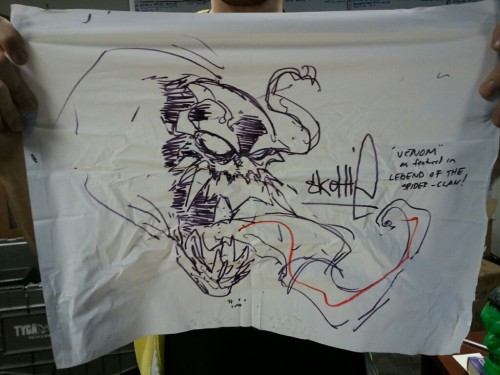 The only piece of original Skottie Young art I own—a Venom drawing he did on a signing table covering from a convention. I'm gonna guess this is from Wizard World Chicago 2007 or so.