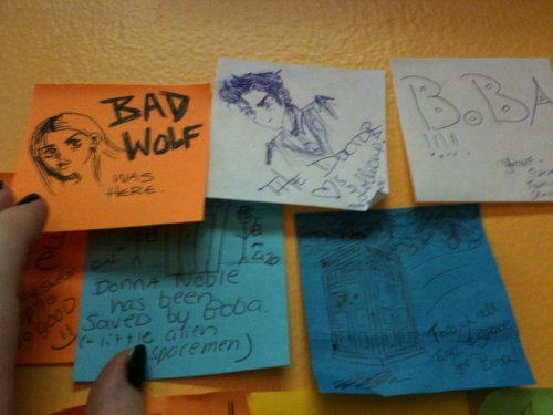 Post-its at Lollicup (local chain of tea shops that sell Boba tea). I love how almost all the Who related ones are clustered together LOL!All 'cept this one:   Individuals: