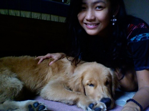 This is me and my golden retriever puppy, Gru, in my room!! :) He just turned 5 months last Sept 30th :) Thanks Tam, for the best birthday gift ever :)