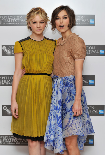 itssaturdaynightlive:  Carey Mulligan and Keira Knightley at the London Film Festival screening of Never Let Me Go.   Somewhere Jena Malone is sobbing.