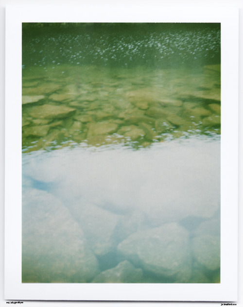 Day 206. Quarry swimming rocks Bodmin Moor, Cornwall, UK.   Polaroid Land Camera 240 and 125i film (expired 12/2007).   Polaroid photograph, all rights reserved, copyright: Jo Bradford 2010