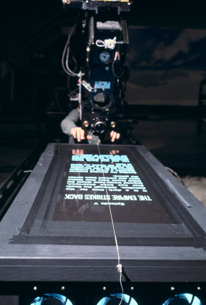 Filming the opening crawl for The Empire Strikes Back. And to think, you could achieve the same effect in ten seconds on a laptop today. Industrial Light & Magic, March, 1980