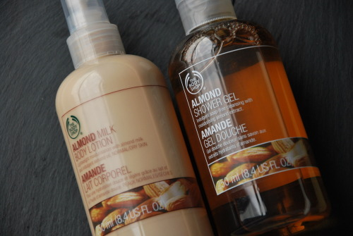 Favourites at the moment: The Body Shop's Almond Shower Gel and Body Lotion. They smell so freaking good..