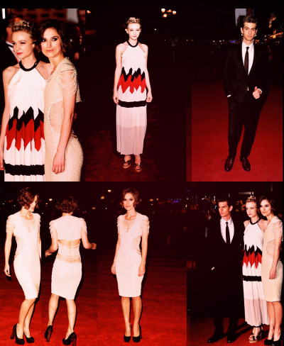 ameliepoulain:  Andrew Garfield, Carey Mulligan (in Vionnet), and Keira Knightley (in Chanel) at the London Film Festival premiere of Never Let Me Go.
