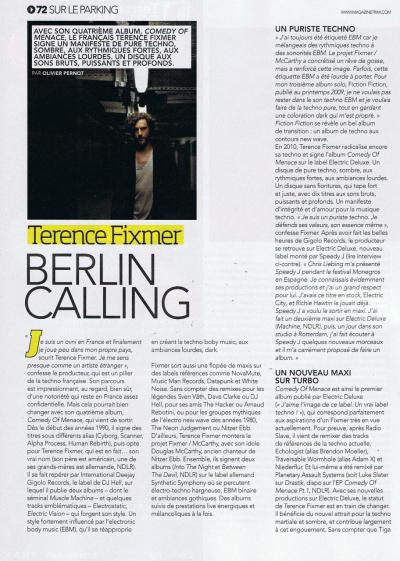 Interview in Trax magazine (france) /page 1 (october issue)