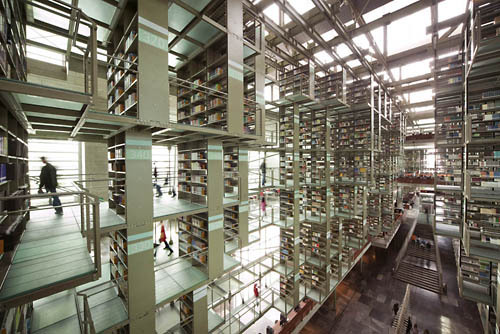 Beautiful Public Library of Mexico in Mexico City. (Via coudal)