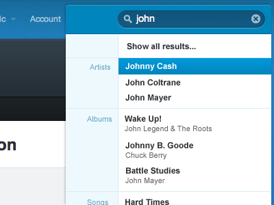 I'm a bit of a Rdio junkie these days [1], and I enjoy following Rdio designer Adam Polselli's work on Dribbble. Yesterday he posted some cool concepts for an update to the search UI and the above is a rebound I made on his idea.  [1] If you used to rock a mullet, you might enjoy my Ultimate Hair Band Rockathon Rdio playlist. If you still rock a mullet, I have no idea what you might enjoy.