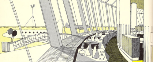 thingsmagazine:  The Queen's Building, Heathrow, by Gordon Cullen (detail)  There's a lovely set full of scans of the then London Airport over on Flickr. Well worth a look. (This building, which turned into Terminal 2, is, I believe, either currently being demolished, or demolished entirely.)
