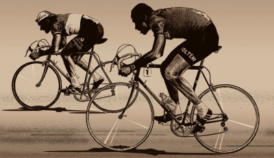 cadenced:  Eddy Merckx and Jacques Anquetil in action…