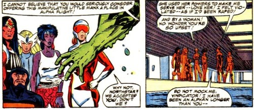 "And yet people wonder why Northstar's default attitude toward Alpha Flight was ""Go fuck yourself"".  (From Alpha Flight #42)"