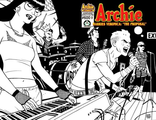 "fashiontipsfromcomicstrips:  The Archies, by Cliff Chiang  ""I was curious what a high school garage band like The Archies might look like today, so here's my hipster take on the band. Archie is totally straight-edge!""- Cliff Chiang  This past weekend at New York Comic Con, I couldn't stop gushing over how much I loved this print to Cliff [which was sold out by the time I tracked him down in Artist Alley]. I love Ronnie's ""princess"" necklace and Betty's entire ensemble, but my most favorite point of fashion here? Archie's bandage armband. Also, Jughead's wristbands are totally the same ones that my boyfriend wears. As well as Scott Pilgrim."