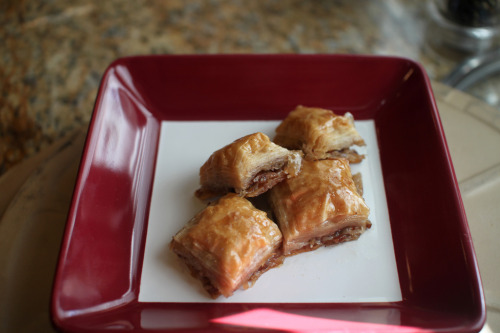 Baklava - one of the most decadent, delicious desserts, ever.  1 (16 ounce) package phyllo dough 1 pound chopped pecans 1 cup butter 4 teaspoons ground cinnamon 1.5 cup water 1.5 cup white sugar 1.5 teaspoon vanilla extract 3/4 cup honey  To make sauce, boil sugar and water until sugar is  melted.  Add vanilla and honey.  Simmer for about 20 minutes.  When done  place in refrigerator to cool.   Preheat oven to 325 degrees F(175 degrees C). Butter the bottoms and sides of a 9x13 inch pan.   Chop nuts and toss with cinnamon. Set aside.   Unroll thawed phyllo dough. Place 1 sheet of dough  in pan, fold in half and butter the top thoroughly.  Repeat until you  have 8 sheets layered.   Sprinkle 2 - 3 tablespoons of nut mixture on top.  Top with two sheets of dough, butter, nuts, layering as you go. The top  layer should be about 6 - 8 sheets deep.   Using a sharp knife cut into diamond or square  shapes almost to the bottom of the pan. You may cut into 4 long rows the  make diagonal cuts.   Bake for about 50 minutes until baklava is golden and crisp.   Remove baklava from oven and immediately spoon sauce over it.  Let cool.  It always tastes better the day after.